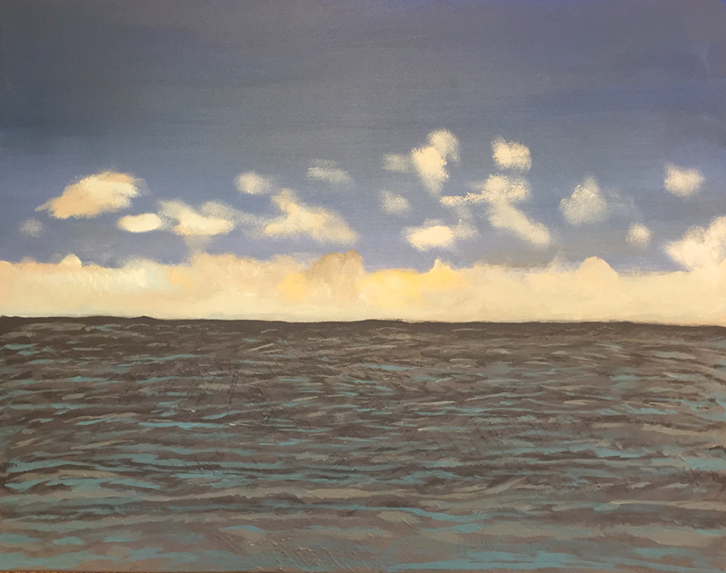 This seascape is of the Gulf of Mexico off Naples, FL. A storm was a-brewin'.