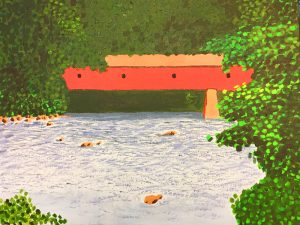 Farmington River Bridge.This covered bridge goes over the Farmington not far from where my older son lives in Connecticut. I simply had to try painting it. 24x18. $150