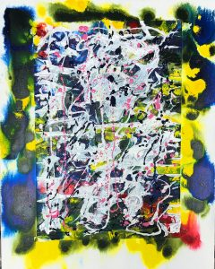 BlueFrame I glued some rice paper to the center of this canvas and the sprayed it heavily with water to make the paper deform into interesting patterns. Then I dripped on some liquid acrylics in the only colors I had. The colors really ran together. I thought it was too much so I palette knifed in some white and some gray, and blue and pink dribbles. 18x25. $50.